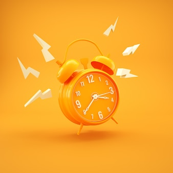 Simple yellow alarm-clock minimalism design 3d render