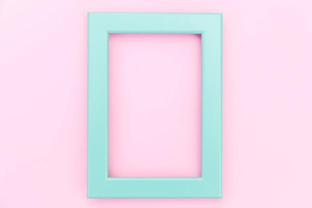 단순히 화려한 핑크 파스텔에 고립 된 빈 블루 프레임 디자인