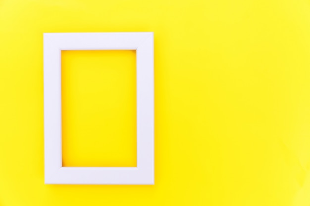 Simply design with empty pink frame isolated on yellow colorful trendy background