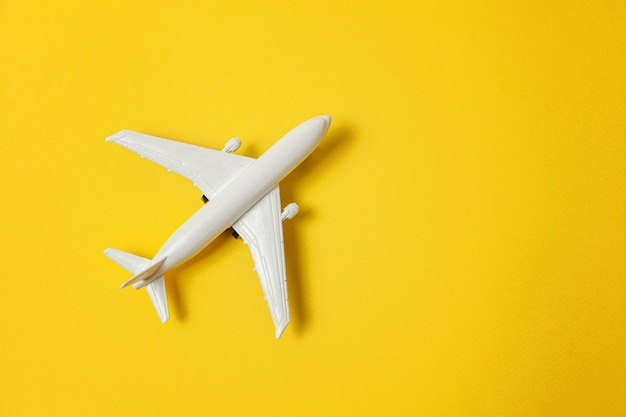 Simply flat lay design with miniature toy model plane