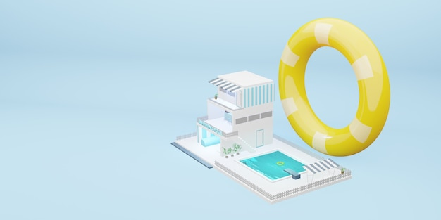 Simulated swimming pool three storey building cartoon model blue pastel 3d illustration