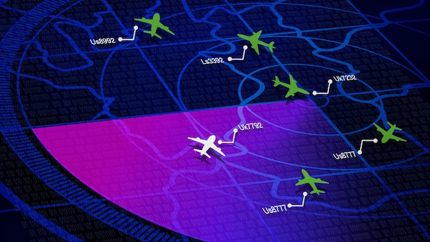 Simulation screen showing various flights for transportation and passengers.