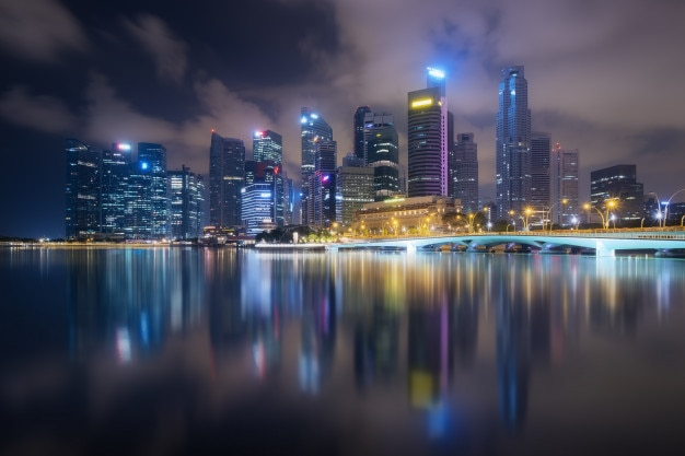 Singapore business district view at night