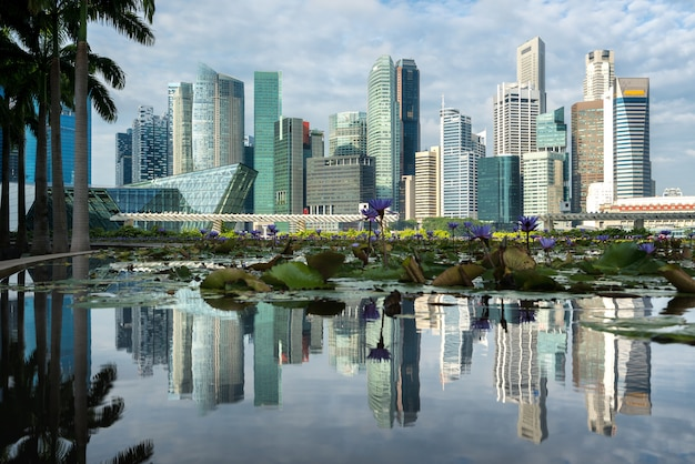 Singapore business district with skyscraper building and reflection at marina bay, singapore.