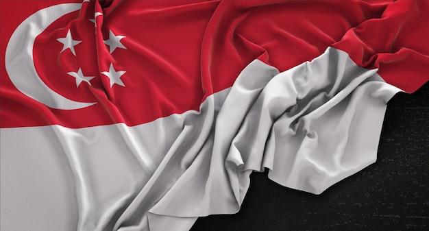 暗い背景にレンダリングされたシンガポールの旗の3dレンダリング