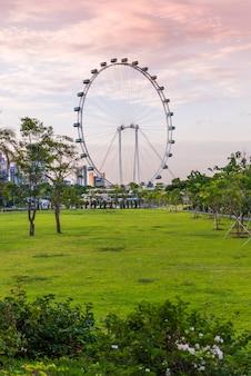 싱가포르 -6 월 19 일 : 싱가포르 플라이어-세계에서 가장 큰 관람차.
