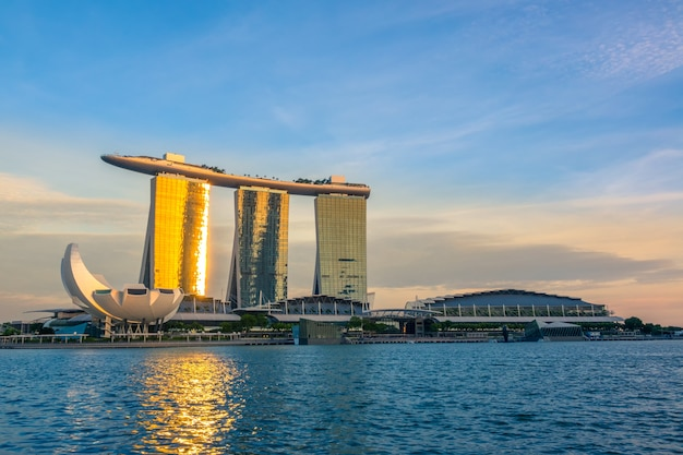 Singapore. marina bay and artscience museum. the rays of the setting sun runs on the mirror windows of the marina bay sands hotel