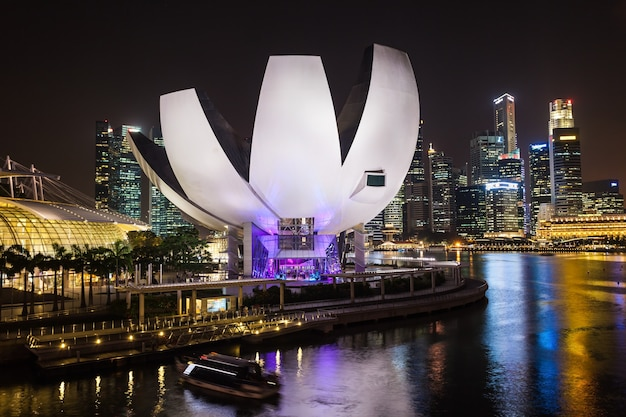 싱가포르 - 2014년 10월 16일: artscience museum은 싱가포르의 통합 리조트인 마리나 베이 샌즈의 명소 중 하나입니다.