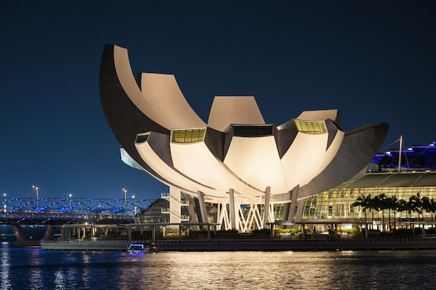 싱가포르 - 2014년 10월 17일: artscience museum은 싱가포르의 통합 리조트인 마리나 베이 샌즈의 명소 중 하나입니다.