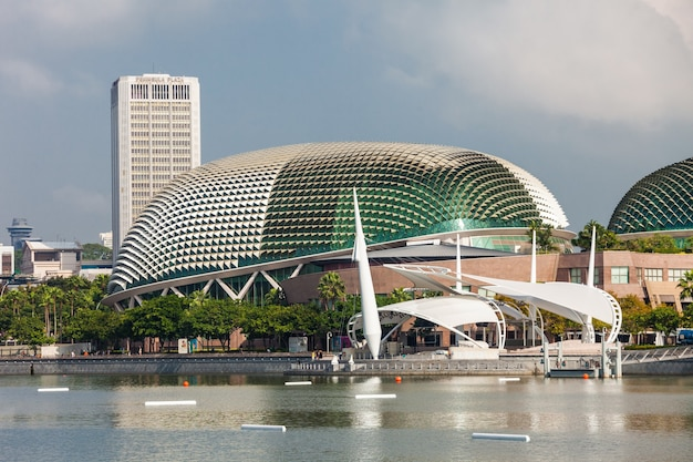 """Singapore - october 17, 2014:  esplanade ãƒâ¢ã'â€ã'â"""" theatres on the bay is a performing arts center located in marina bay near the mouth of the  singapore river."""
