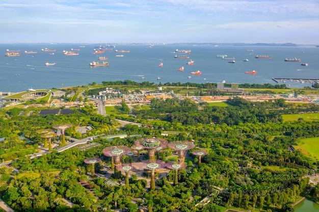 Сингапур. панорамный вид на сады у залива, рощу супердерева и рейд с кораблями. с высоты птичьего полета