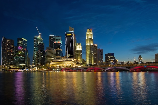 Singapore river waterfront skyline at blue hour