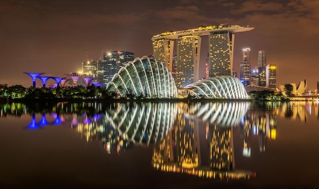 Singapore skyline at night in singapore city