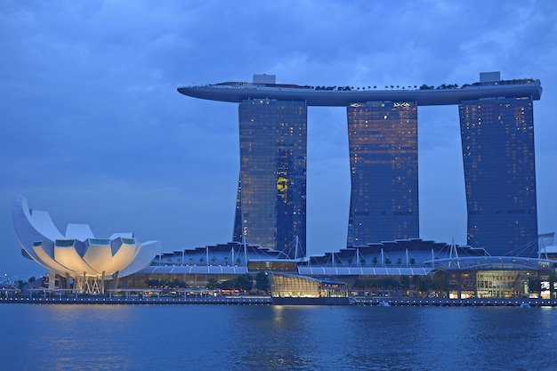 Singapore skyline and river at blue hour