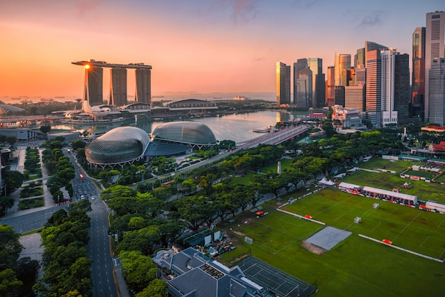 Singapore skyline and view of skyscrapers on marina bay at sunsrise.