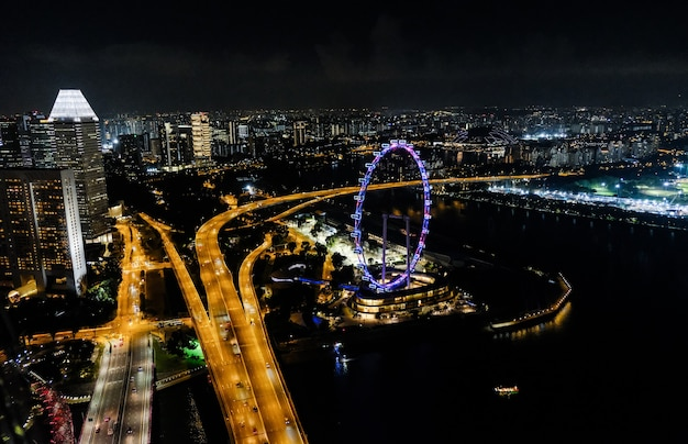 Singapores ferris wheel in the night
