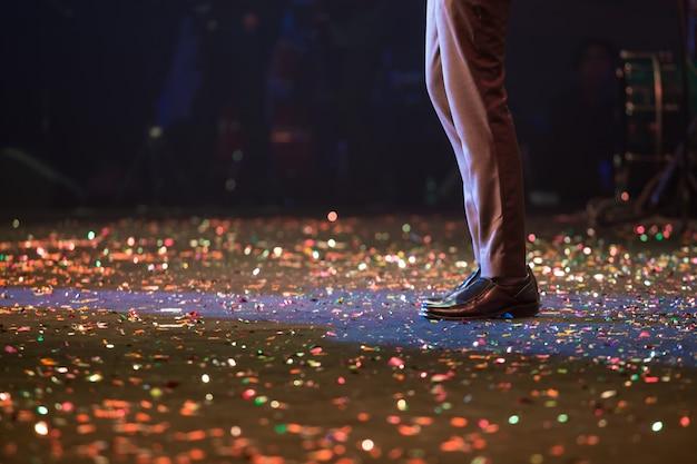 Singer on stage background