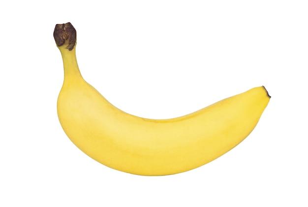 Один банан на белом фоне. изолированный. плоская планировка, вид сверху.