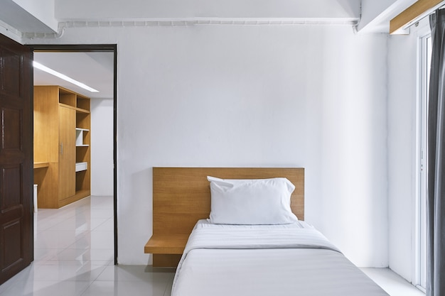 Single bedroom interior decoration mock up for hotel apartment