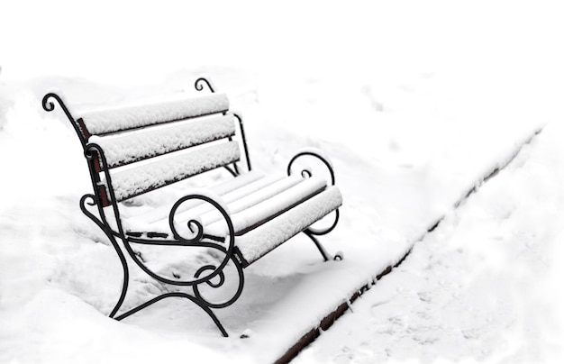 Single bench covered with snow in a winter park