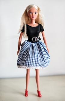 Одинокая белокурая кукла в юбке
