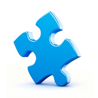 Single blue puzzle piece isolated