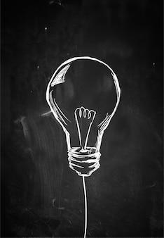 Single bulb sketch on blackboard