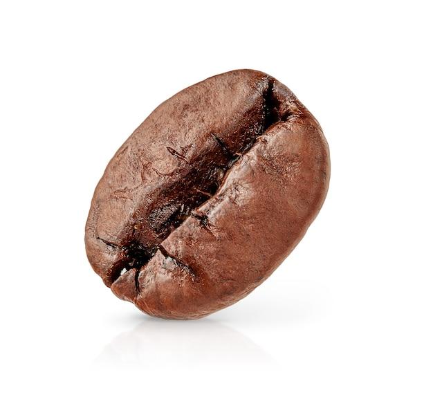 클리핑 패스와 함께 흰색 배경에 고립 된 단일 커피 콩.