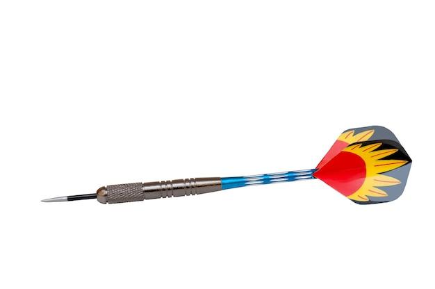 Одноместный дротик разноцветные стрелки, изолированные на белом фоне
