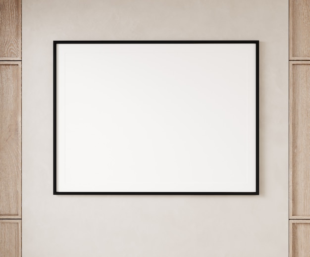 Single empty square black lined picture frame hanging on beige wall with wooden panels. 3d illustration.