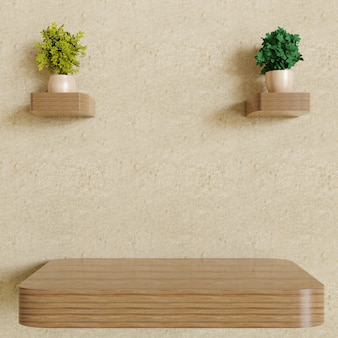 Single empty wooden wall shelf with couple plants decoration on plaster wall
