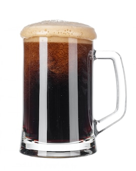 Single glass of beer close up isolated