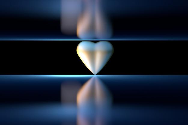 Single golden heart between two mirror planes