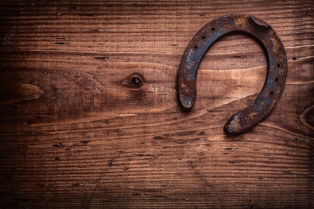 Single horseshoe on vintage wooden board