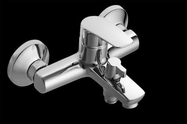 Single lever bath mixer. short nose. isolated over black background. wall mounted.