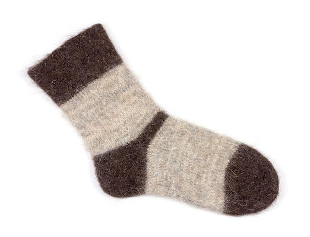 Одноместный мужской серый вязаный носок из собачьей шерсти на белом