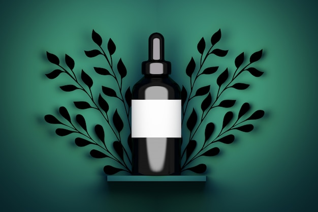 Single one large vape serum cosmetic black bottle packaging with white empty label with foliage decoration. 3d illustration.