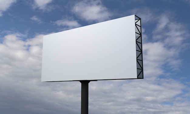 Single pole billboard on blue sky with clouds