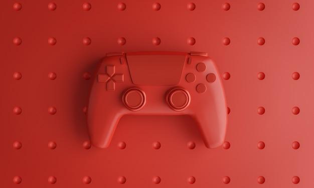 Single red joystick background 3d rendering