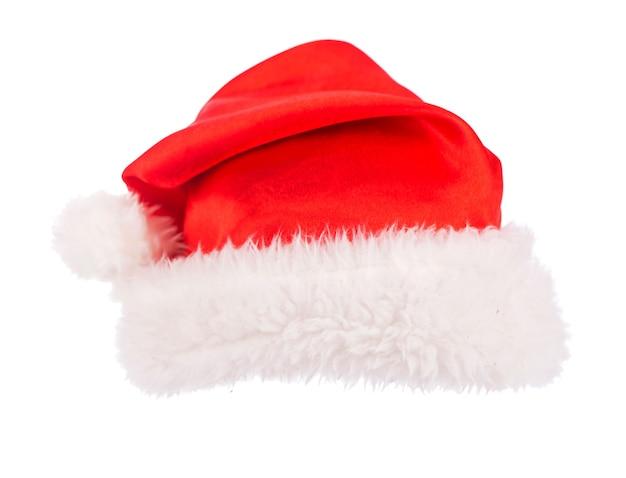 흰색 표면에 고립 된 단일 산타 클로스 빨간 모자