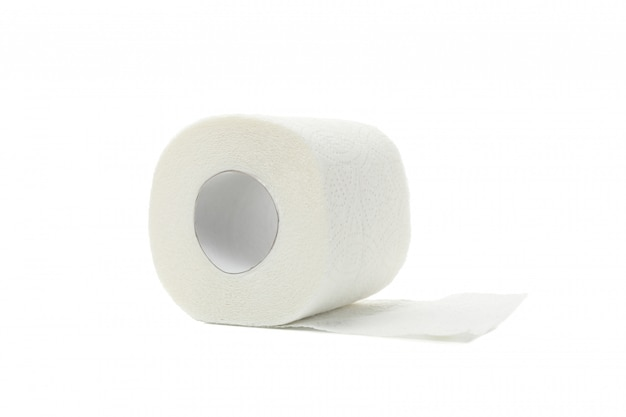 Single toilet paper isolated