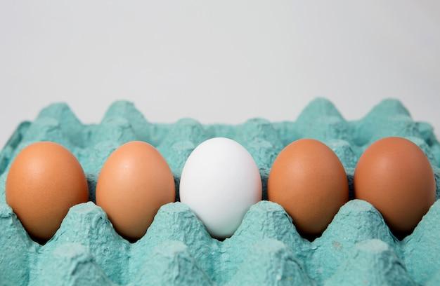 Single white egg among brown eggs