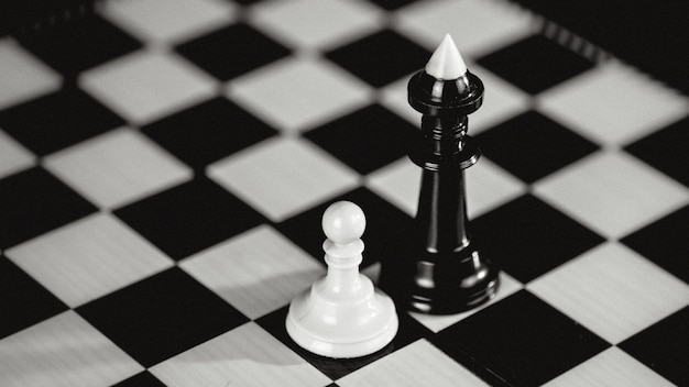 Single white pawn against many enemies