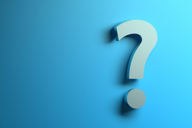 Single white question mark on the blue background with copy blank space.