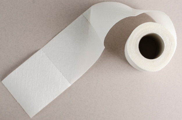 Single white toilet paper roll on grey