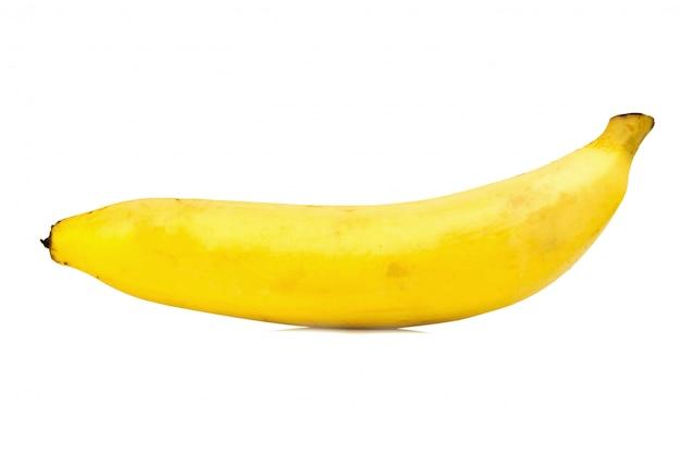 Single yellow banana isolated on white background