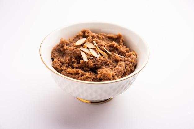 Singoda or singada sheera, farali singhara halwa or vrat or upwas recipe made using water chestnut