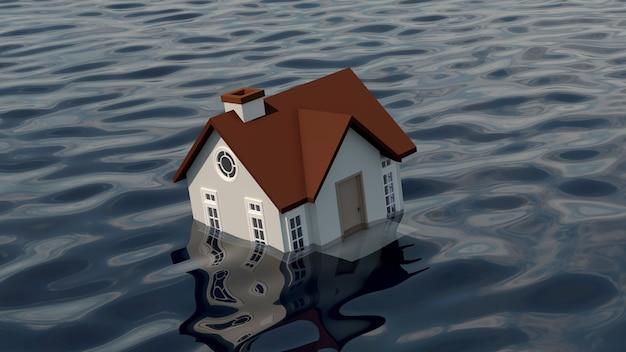 水に沈む家。