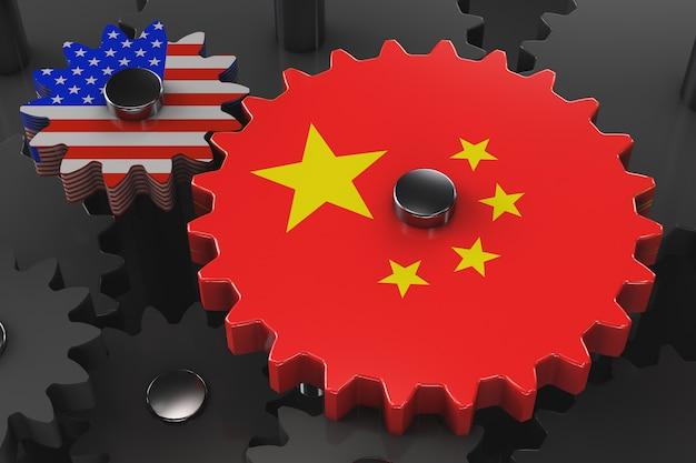 Китайско-американская концепция экономической машины. шестеренка с символикой сша и китая