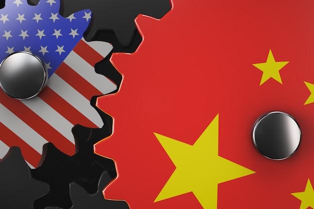 중미 경제 기계 개념입니다. 미국과 중국의 상징이 있는 기어